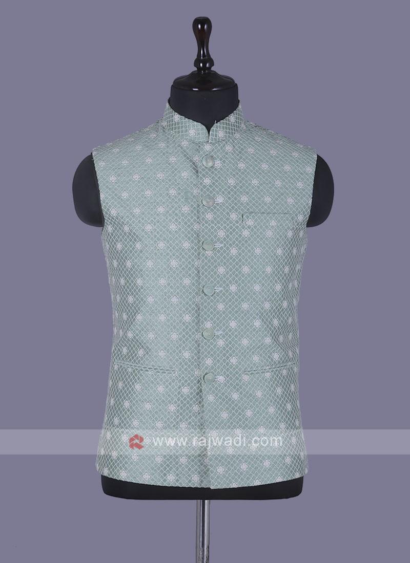 Thread Work Pista Green Nehru Jacket