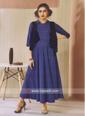 Koti Style Checks Print Royal Blue Kurti