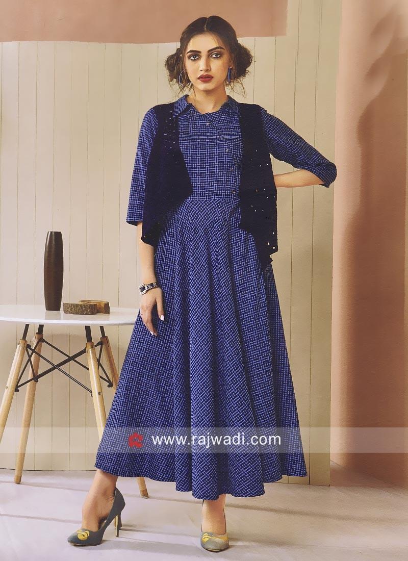 Koti Style Checks Print Royal Blue Kurti