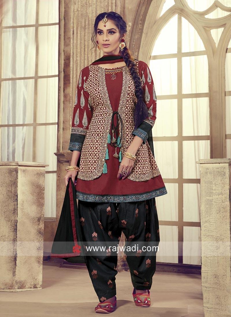 Koti Style Cotton Patiala Suit
