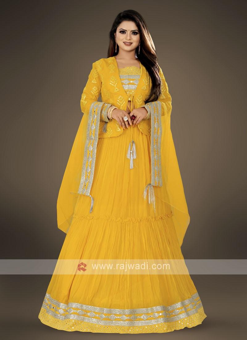 koti style yellow lehenga choli suit