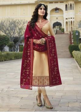 Kritika Kamra Georgette Satin Suit in Cream for Eid