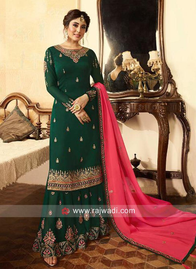 Kritika Kamra Gharara Suit in Bottle Green