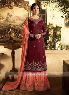 Kritika Kamra Maroon Heavy Work Gharara Suit