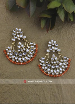 Kundan and Stone Work Chandbali Earrings