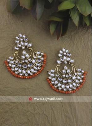 Kundan and Stone Work Chandbali Earrings