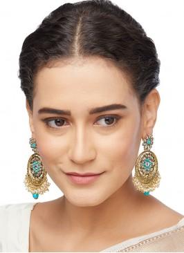 Kundan Earring Set In Sea Green