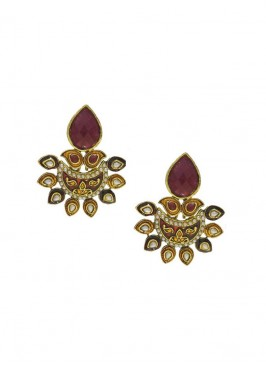 Kundan Maharani Maroon Danglers Earrings