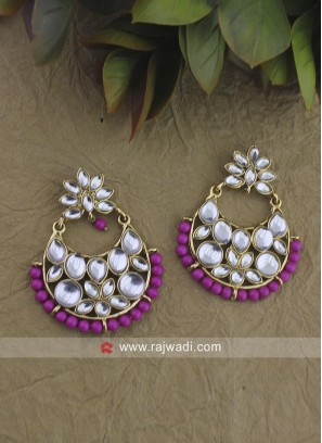 Kundan Work Chandbali earrings