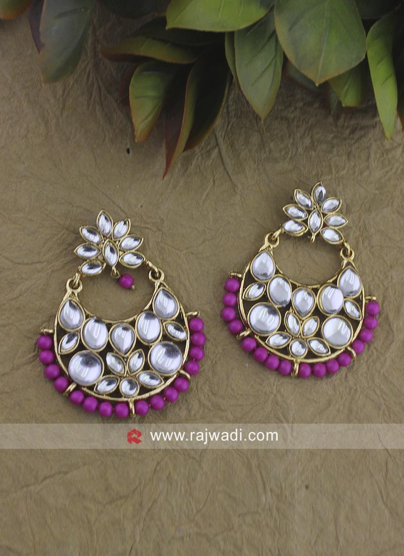 Kundan Work Chandbali earrings