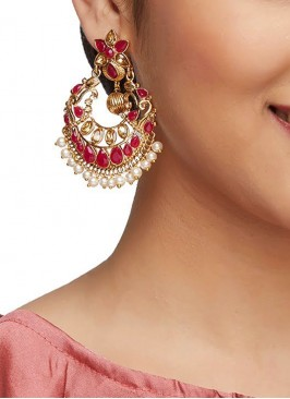 Red Stone Chandbali Earrings