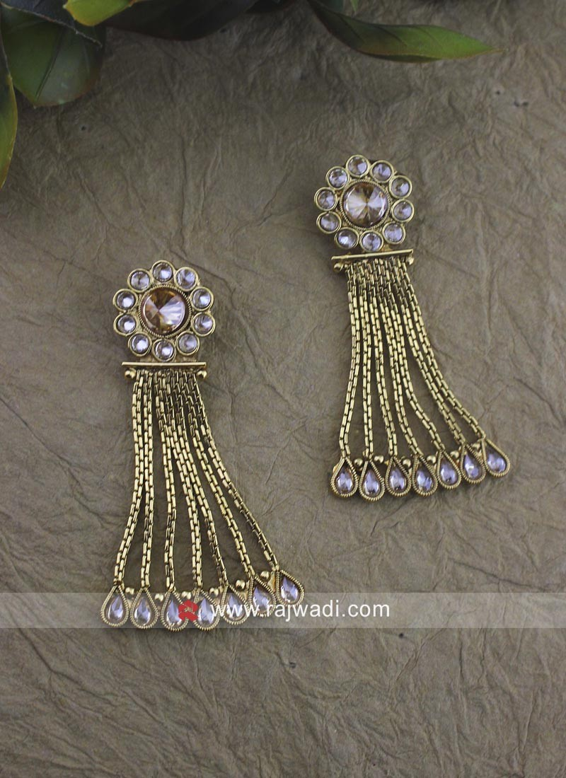 Kundan Work Gold Plated Earrings