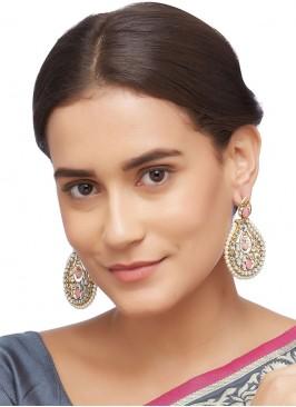 Kundan Work Pink Polki Earring Set