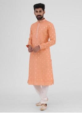Kurta Pajama In Peach And White Color