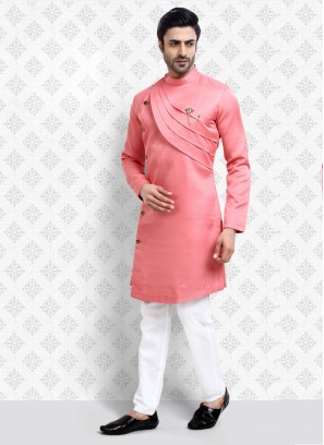 Kurta Pajama In pink and White Color