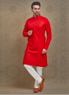 Kurta Pajama In Red And White