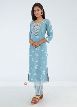 Kurti With Trouser In Light Blue
