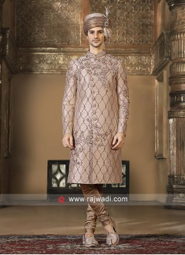 Stylish Golden Art Silk Sherwani