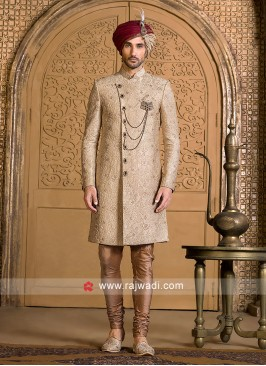 Attractive Golden Color Sherwani