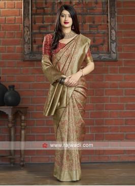 Paisley Motifs Woven Banarasi Silk Saree
