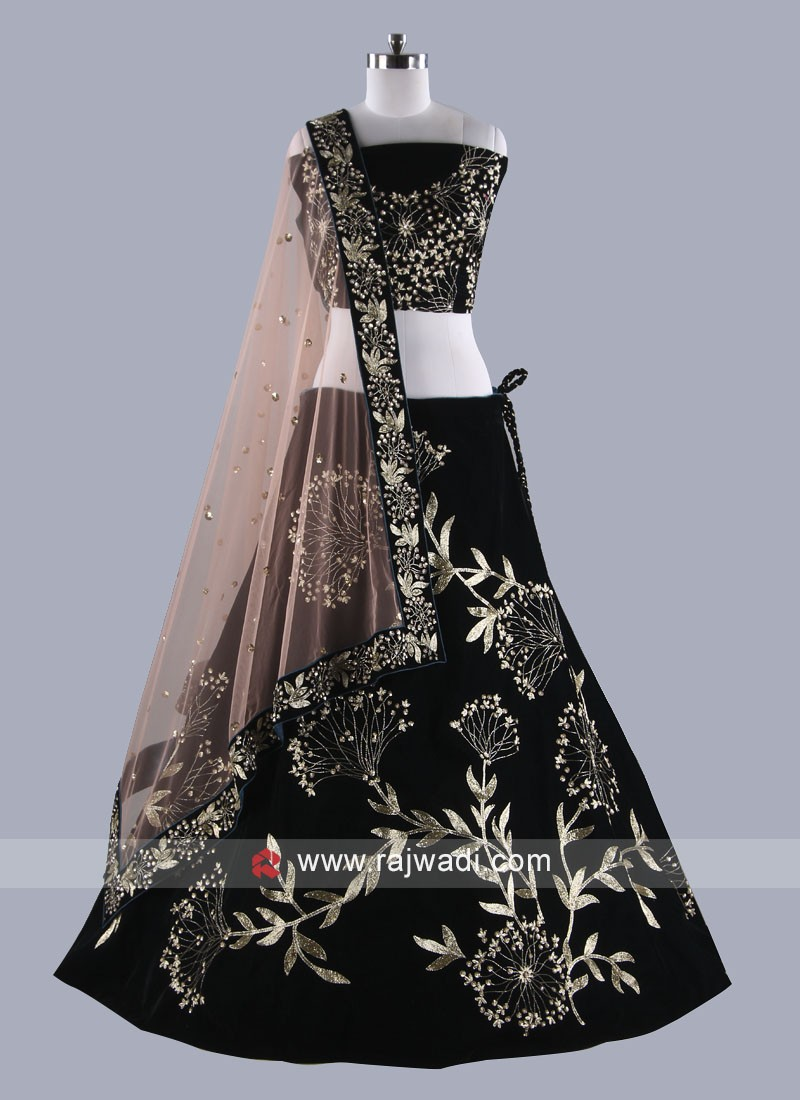 Latest Black Velvet Lehenga Set