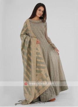 Latest Designer Anarkali Suits In Dark Beige Color