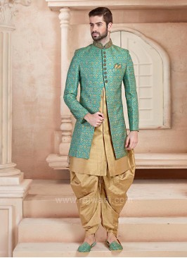 Latest Sky Blue and Golden Color Indo Western
