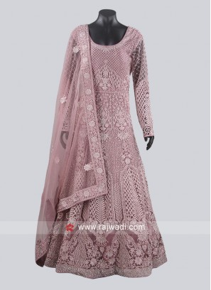 Lavender Blush Color Heavy Anarkali Suit For Wedding