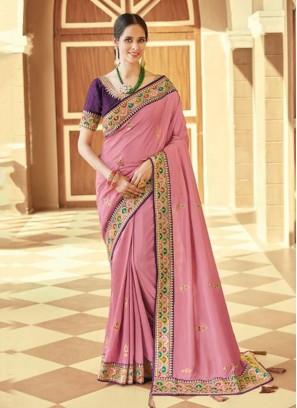Lavender Ceremonial Silk Trendy Saree
