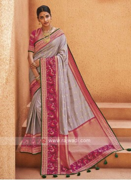 Lavender Color Banarasi Silk Saree
