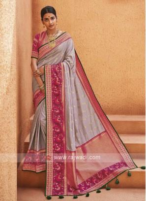 Lavender Color Banarasi Silk Saree