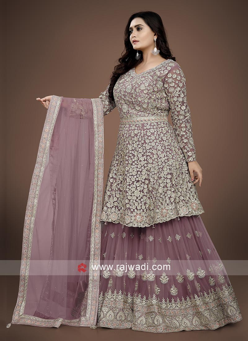 Lavender color Gharara Suit with dupatta