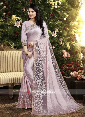 Lavender Color Satin Georgette Saree