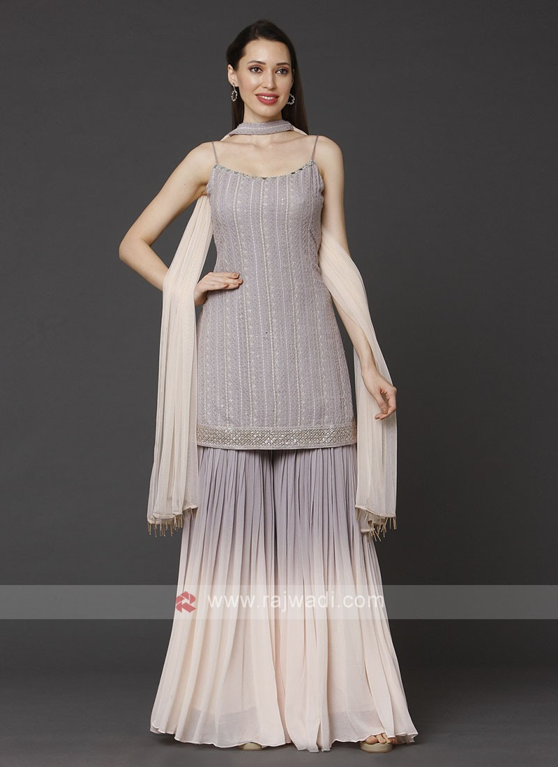 Lavender & Light Peach Gharara Suit