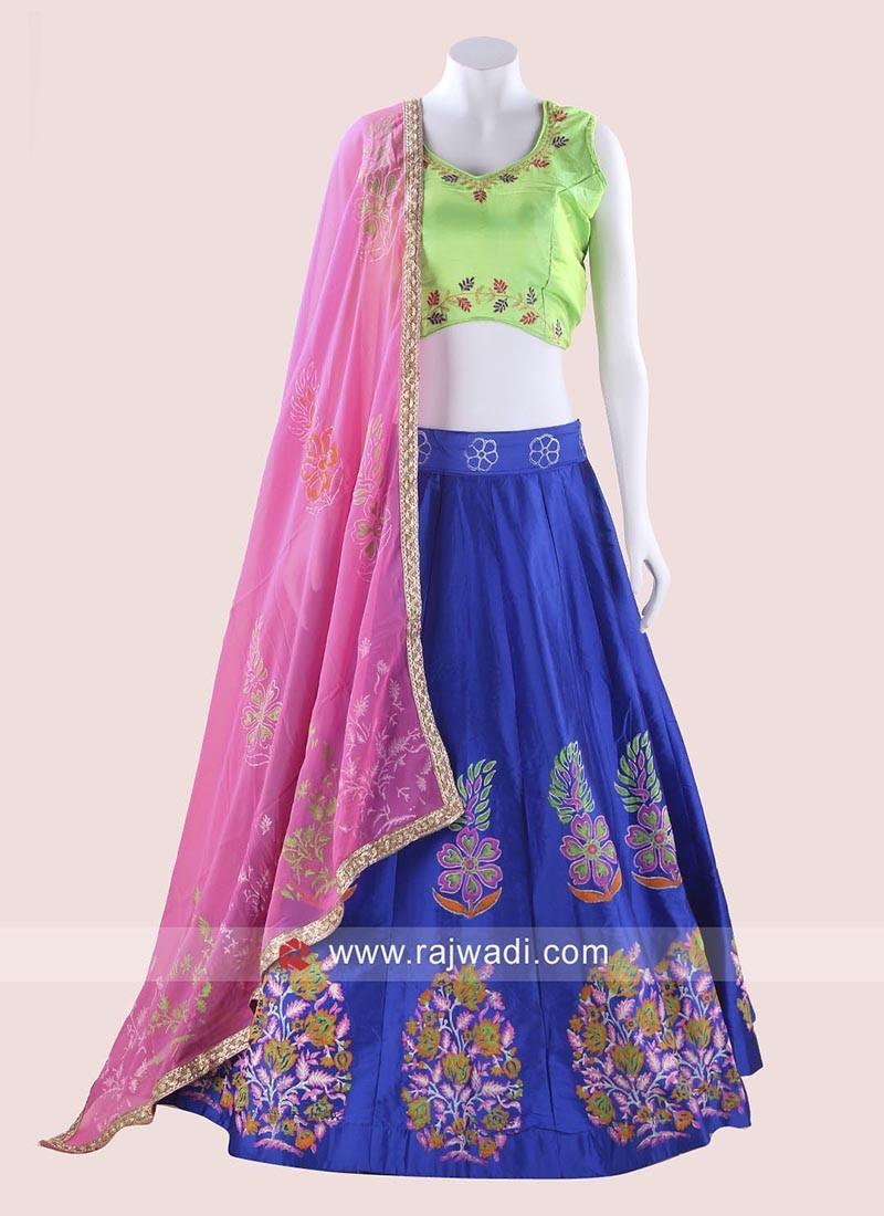 Lawn Green and Blue Chaniya Choli with Dupatta