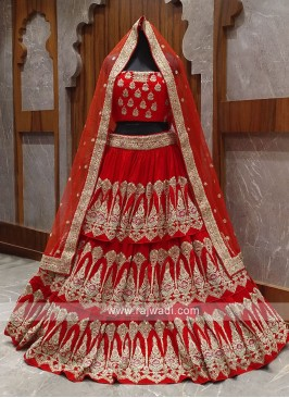 layer red bridal lehenga choli
