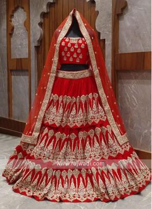 layer red bridal lehenga choli
