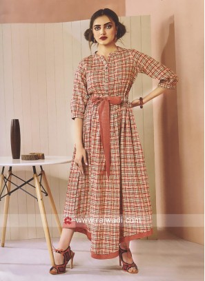 Layered Checks Print Cotton Kurti