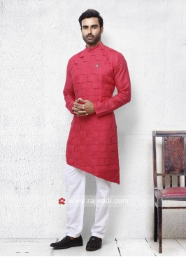 Layered Coral Color Pathani