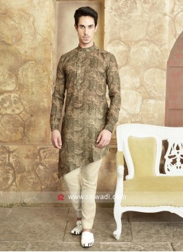 Layered Cotton Fabric Pathani Suit