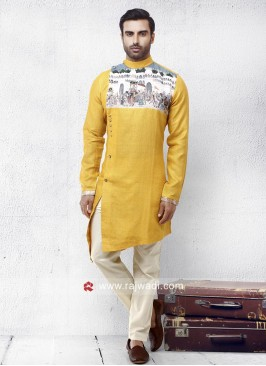 Layered Linen Fabric Pathani Set