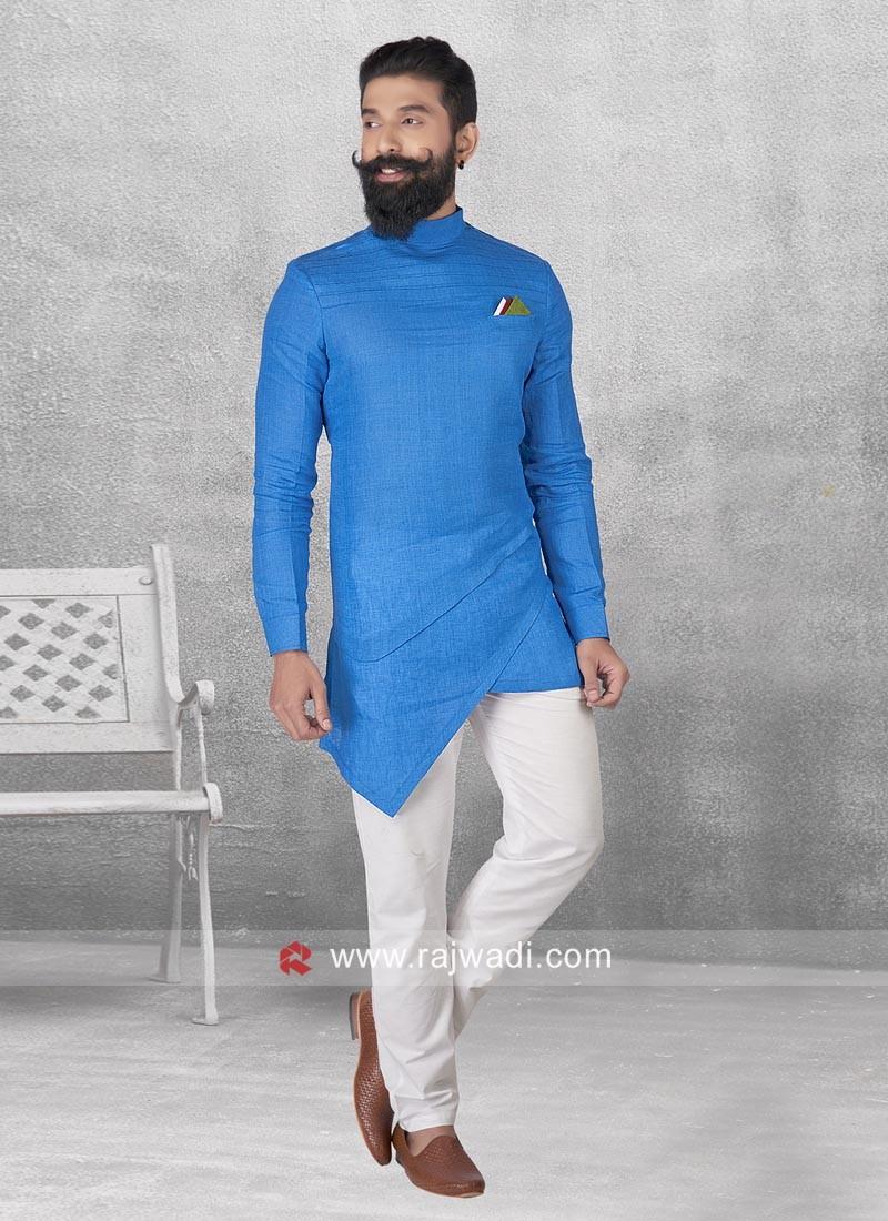 Layered Linen Pathani Set