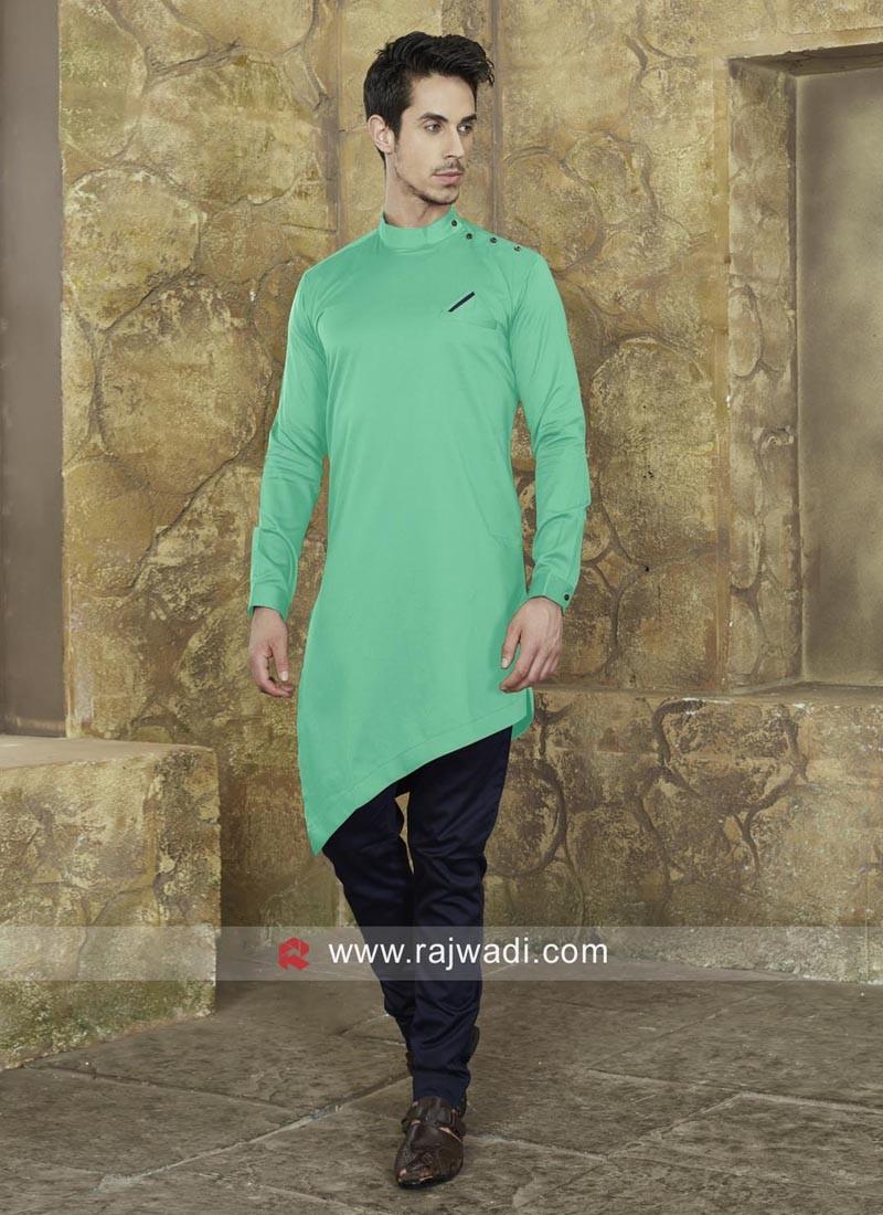 Layered Cotton Silk Pathani Set