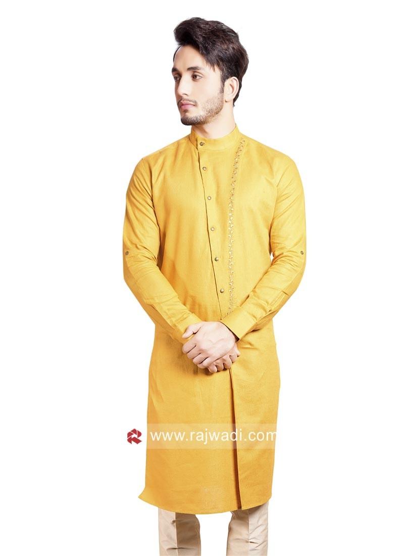 Stylish Linen Yellow Pathani Set