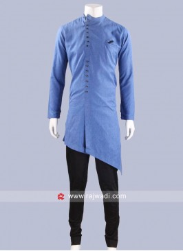 Layered Cotton Silk Pathani Suit