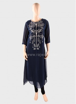 Layered Embroidered Casual Chiffon Kurti