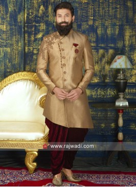 Layered Golden Indo Western With Dupatta