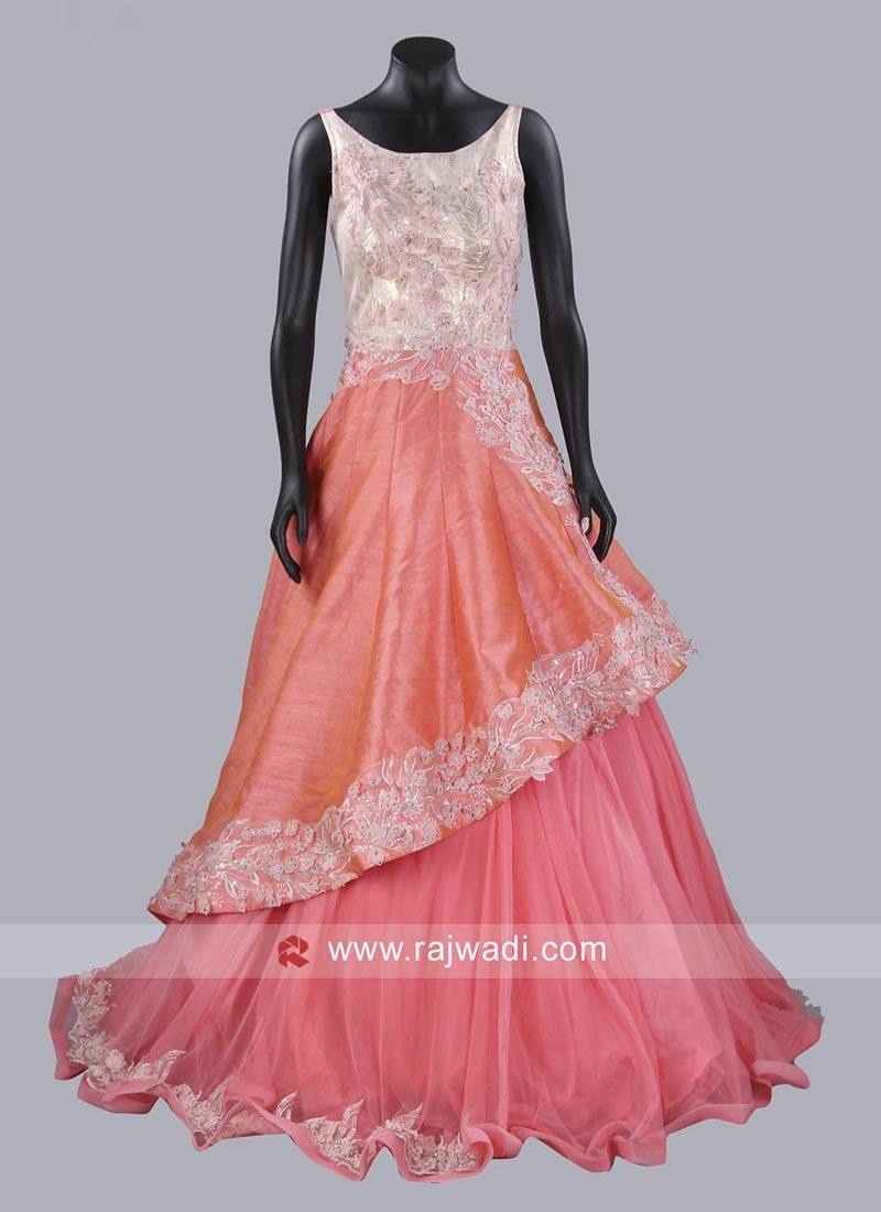 Layered Gown in Peach