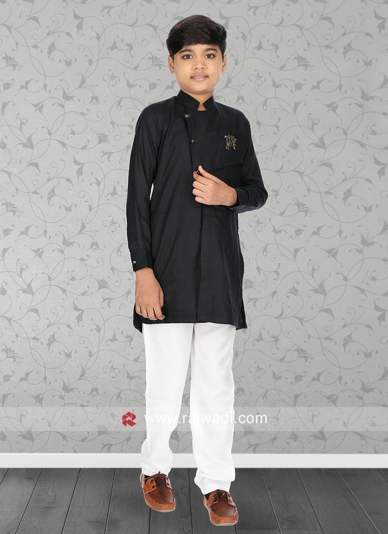 Black Cotton Fabric Kurta Set
