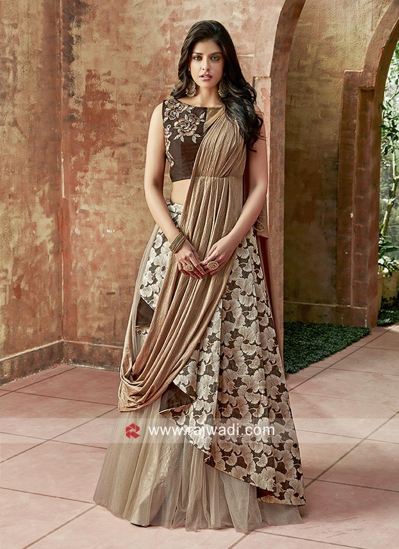 Layered Lehenga Set with Attached Dupatta